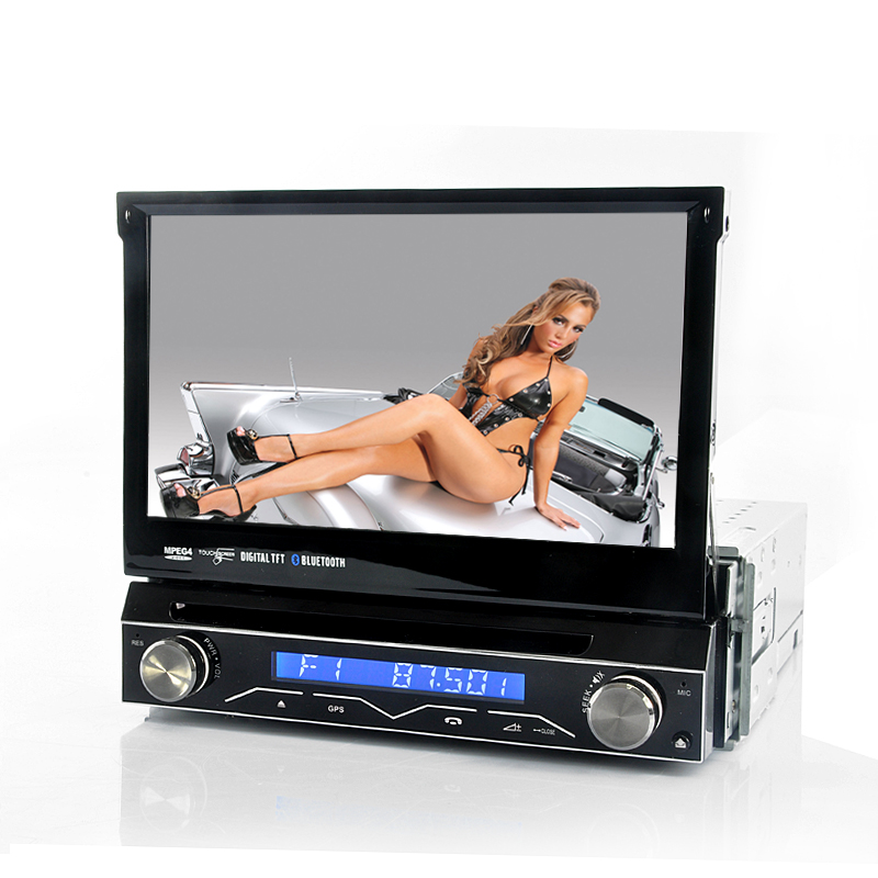 "1 DIN Car DVD Player ""Soundwave"" - 7 Inch Flip Out Screen, Detachable Front Panel, GPS OA1014"